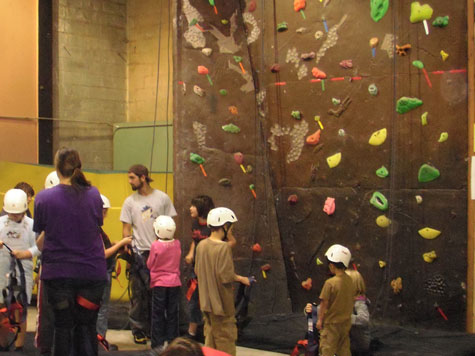 Preparing for indoor rock climbing.